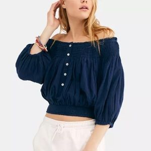 Free People Smocked Off-the-Shoulder Top in Navy